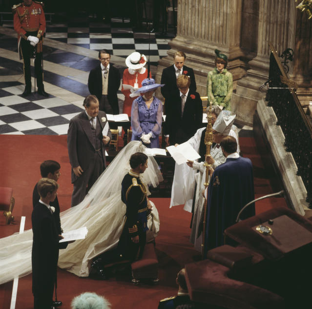 Fellowes (in red) supported her sister at the 1981 royal wedding. (Photo: Keystone/Hulton Archive/Getty Images)