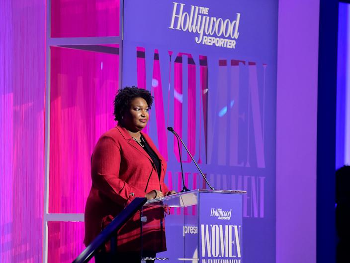 Stacey Abrams speaks onstage during The Hollywood Reporter's Power 100 Women in Entertainment in Hollywood on December 11, 2019.
