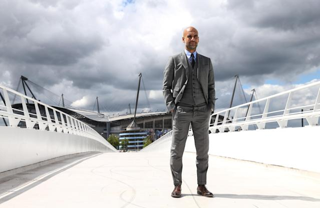 "It's taken some time, but Pep Guardiola is finally painting his <a class=""link rapid-noclick-resp"" href=""/soccer/teams/manchester-city/"" data-ylk=""slk:Manchester City"">Manchester City</a> masterpiece. (Getty)"