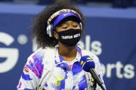 Naomi Osaka, of Japan, wears a Trayvon Martin mask before a fourth round match against Anett Kontaveit, of Estonia, at the US Open tennis championships, Sunday, Sept. 6, 2020, in New York. (AP Photo/Frank Franklin II)