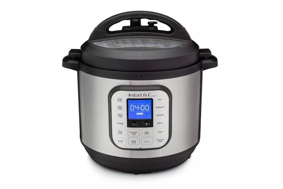 """$120, Target. <a href=""""https://www.target.com/p/instant-pot-duo-nova-8qt-7-in-1-one-touch-multi-use-programmable-electric-pressure-cooker-with-new-easy-seal-lid-8211-latest-model/-/A-54643167#"""" rel=""""nofollow noopener"""" target=""""_blank"""" data-ylk=""""slk:Get it now!"""" class=""""link rapid-noclick-resp"""">Get it now!</a>"""