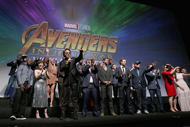 <p>Class photo! The whole group — A-list galore — took the stage inside the premiere. Robert Downey Jr. had some words for the crowd. (Photo: Getty Images) </p>