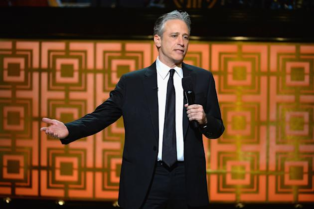 "NEW YORK, NY - MAY 06: Jon Stewart speaks onstage at Spike TV's ""Don Rickles: One Night Only"" on May 6, 2014 in New York City. (Photo by Theo Wargo/Getty Images for Spike TV)"
