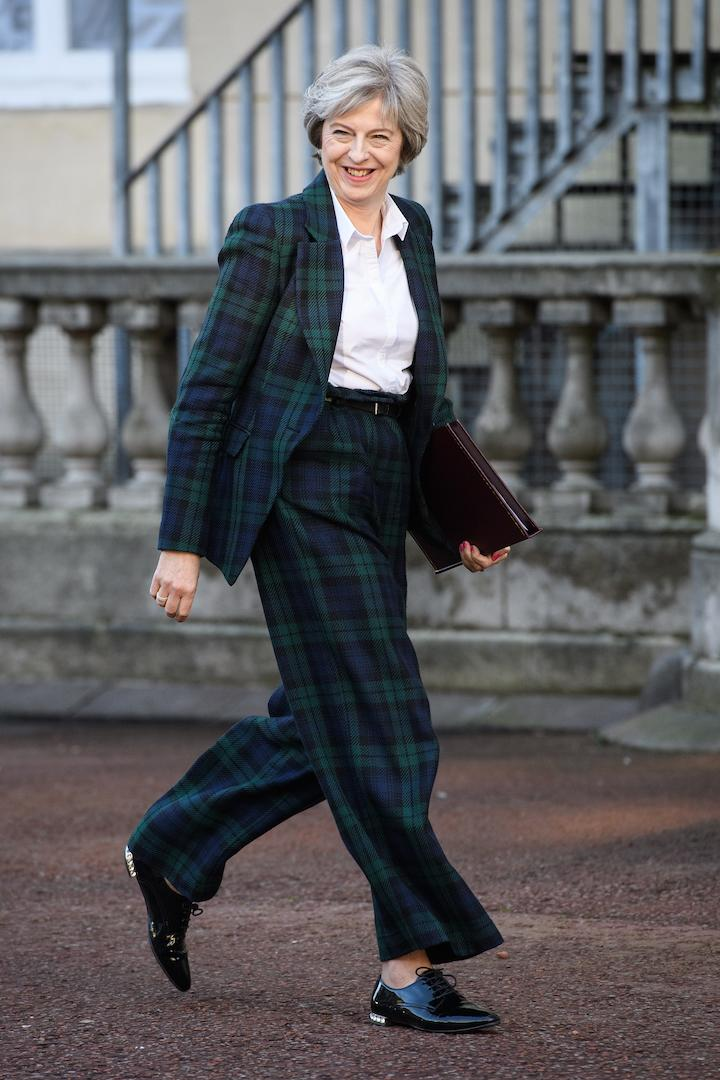 Theresa May dug out her favourite Vivienne Westwood suit for the keynote speech [Photo: Getty]