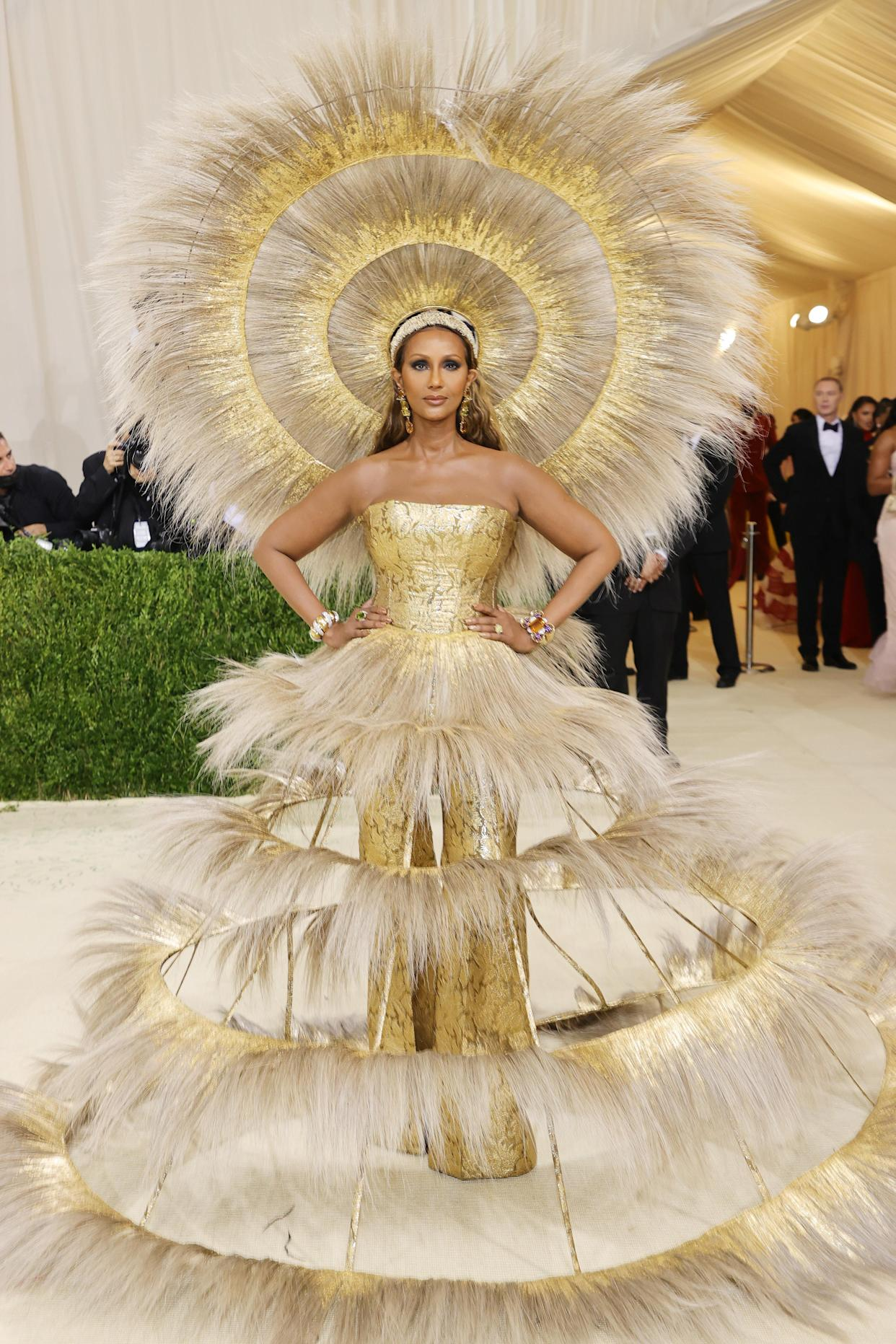 Iman attends The 2021 Met Gala Celebrating In America: A Lexicon Of Fashion at Metropolitan Museum of Art on September 13, 2021 in New York City. (Getty Images)
