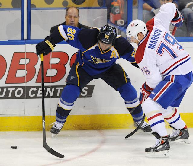 St. Louis Blues' Alexander Steen (20) and Montreal Canadiens' Andrei Markov (79), of Russia, battle for the puck during the second period of an NHL hockey game on Thursday, Dec. 19, 2013, in St. Louis. (AP Photo/Bill Boyce)