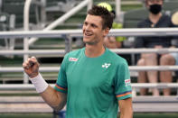 Hubert Hurkacz of Poland, reacts after defeating Sebastian Korda 6-3, 6-3 during the men's singles final of the Delray Beach Open tennis tournament, Wednesday, Jan. 13, 2021, in Delray Beach, Fla. (AP Photo/Lynne Sladky)
