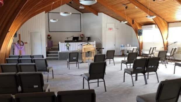 Church seating has been adjusted to allow for physical distancing during the COVID-19 pandemic