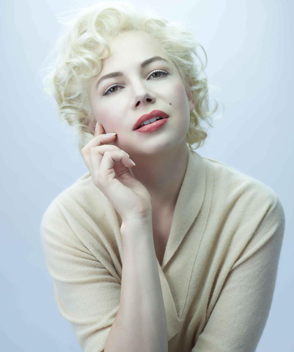 """<p>Williams transformed into Monroe for the 2011 film <em>My Week with Marilyn</em>. Williams won a Golden Globe Award for her portrayal of Monroe and was nominated for an Academy Award. </p> <p>Williams told <a href=""""https://www.hollywoodreporter.com/news/michelle-williams-my-week-with-marilyn-261854"""" rel=""""nofollow noopener"""" target=""""_blank"""" data-ylk=""""slk:The Hollywood Reporter"""" class=""""link rapid-noclick-resp""""><em>T</em><em>he Hollywood Reporter</em></a> of portraying Monroe authentically, """"For me, the most crucial discovery — the flash — was that the widely accepted image of Marilyn Monroe was a character that Norma Jean played.""""</p> <p>She added, """"Unless you study her and understand her a bit better than the commonly accepted view, one could miss who she was underneath that. Marilyn was a part she played."""" </p>"""