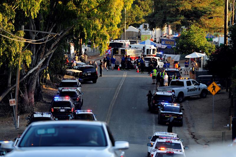CALIFORNIA, USA - JULY 28 : Security measures are taken at the road into Christmas Hill Park where the Gilroy Garlic Festival held after mass shooting at the Garlic Festival in Gilroy, California on July 28, 2019. At least three people were killed on Sunday in an ongoing shooting at a festival in northern California, according to a local official. (Photo by Neal Waters/Anadolu Agency via Getty Images)