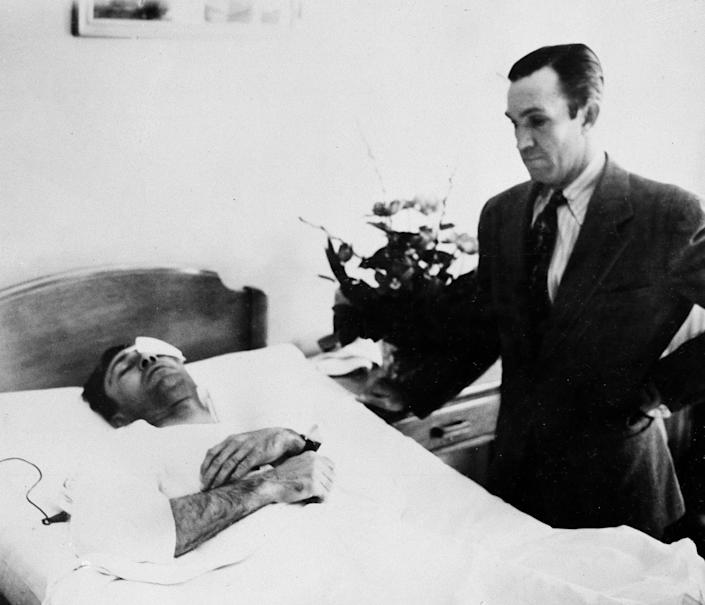 Golfer Ben Hogan lies in an El Paso, Texas, hospital as he recovers from injuries sustained in a car crash.
