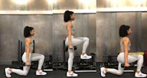 <ul> <li>Stand upright, feet together, with 10-pound dumbbells at your side. Take a controlled step forward with your left leg, lowering your hips toward the floor by bending both knees to 90-degree angles. The back knee should point toward but not touch the ground, and your front knee should be directly over the ankle.</li> <li>Press your left heel into the ground, and push off with your right foot to bring your right leg forward, stepping with control into a lunge on the other side. This completes one rep.</li> <li>Do three sets of 10 reps on each leg.</li> </ul>