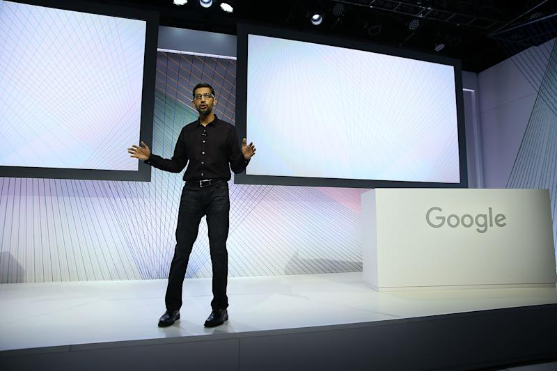 Google CEO Sundar Pichai speaks during a Google media event in 2015. Photo: Getty