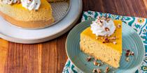 """<p>Pumpkin spice season is all year round.</p><p>Get the recipe from <a href=""""https://www.delish.com/cooking/nutrition/a28507977/keto-pumpkin-cheesecake-recipe/"""" rel=""""nofollow noopener"""" target=""""_blank"""" data-ylk=""""slk:Delish"""" class=""""link rapid-noclick-resp"""">Delish</a>. </p>"""
