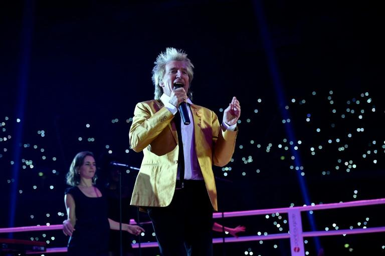 British pop singer Rod Stewart, seen here in a 2015 concert picture, has apologized for a video of a mock beheading