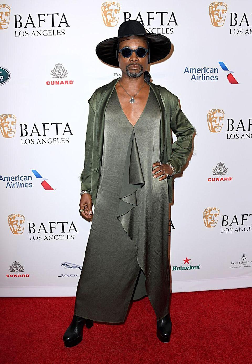 <p>Attending the BAFTA Los Angeles Tea Party at Four Seasons Hotel in Los Angeles, the actor wore a Baja East green dress, black Coach heeled boots, accessories by Konstantino jewellery and a black hat by Halomimi. </p><p>He styled the look with a pair of black sunglasses by Thom Browne. </p>