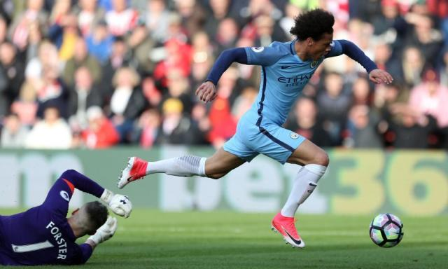 "<span class=""element-image__caption"">Manchester City's Leroy Sané goes down under a challenge from Fraser Forster.</span> <span class=""element-image__credit"">Photograph: Steven Paston/PA</span>"