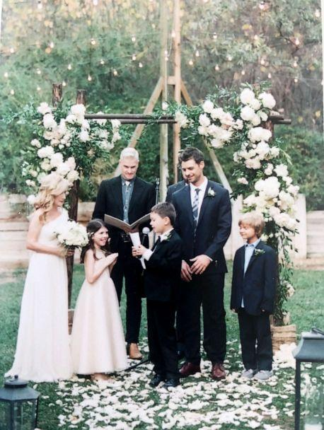 PHOTO: Angela Kinsey with her husband, Joshua Snyder, and kids on their wedding day. (Courtesy of Angela Kinsey)