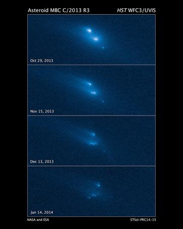 This series of Hubble Space Telescope images reveals the breakup of an asteroid over a period of several months in late 2013. Scientists said on Thursday they have observed for the first time an asteroid breaking apart, crumbling into at least 10 pieces in sort of a celestial, slow-motion train wreck. The images were taken in visible light with Hubble's Wide-Field Camera 3. REUTERS/NASA, ESA, D. Jewitt/UCLA/Handout via Reuters