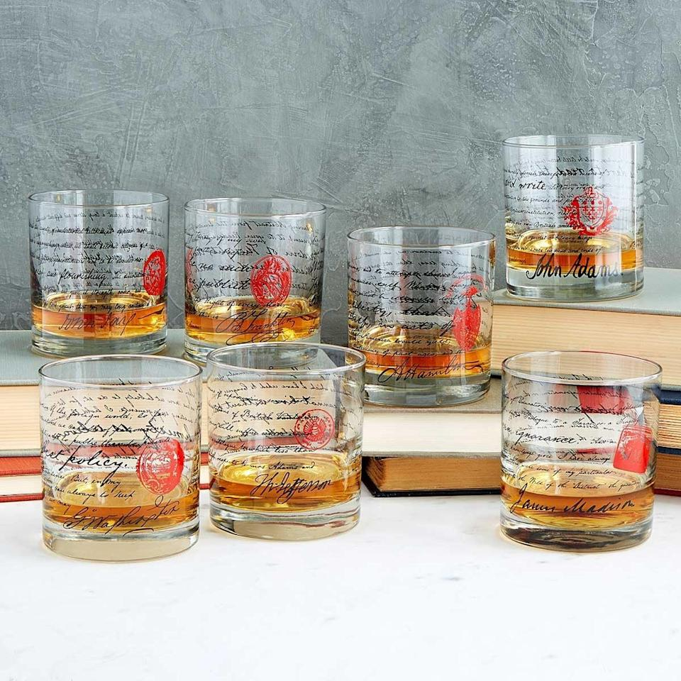 <p>History buffs will love the <span>Founding Fathers Whiskey Glasses</span> ($100 ($15 each)).</p>
