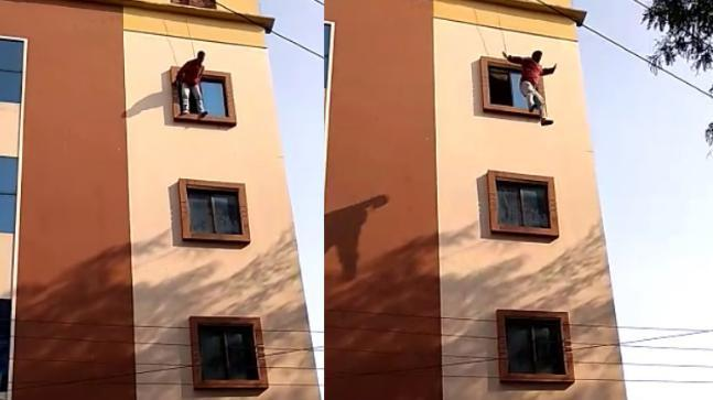 The entire episode, which was captured by a few eyewitnesses, shows the 42-year-old Ravi Kumar jump out of the window of his apartment.
