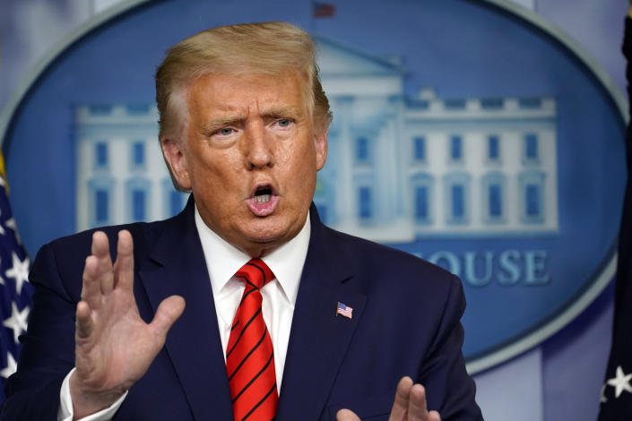 President Donald Trump speaks at a news conference in the James Brady Press Briefing Room at the White House, Monday, Aug. 31, 2020, in Washington. (/Andrew Harnik/AP)