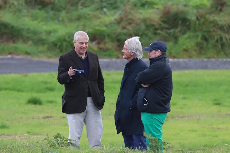 The Duke of York with solicitor Paul Tweed (centre) as he attends The Duke of York Young Champions Trophy at the Royal Portrush Golf Club in County Antrim. (Photo by Liam McBurney/PA Images via Getty Images)