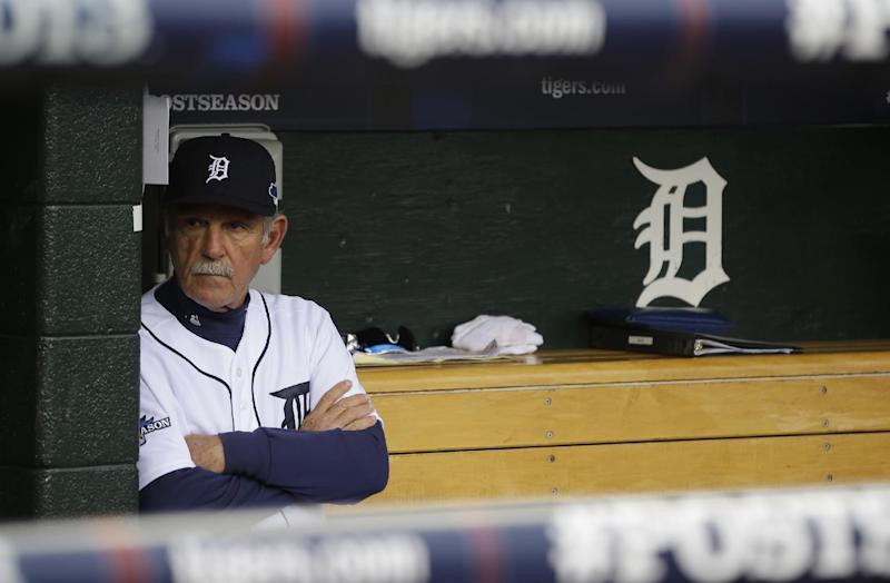 Detroit Tigers manager Jim Leyland waits for the start of Game 3 of the American League baseball championship series against the Boston Red Sox Tuesday, Oct. 15, 2013, in Detroit. (AP Photo/Matt Slocum)