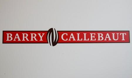 Logo of chocolate and cocoa product maker Barry Callebaut is pictured during the company's annual news conference in Zurich
