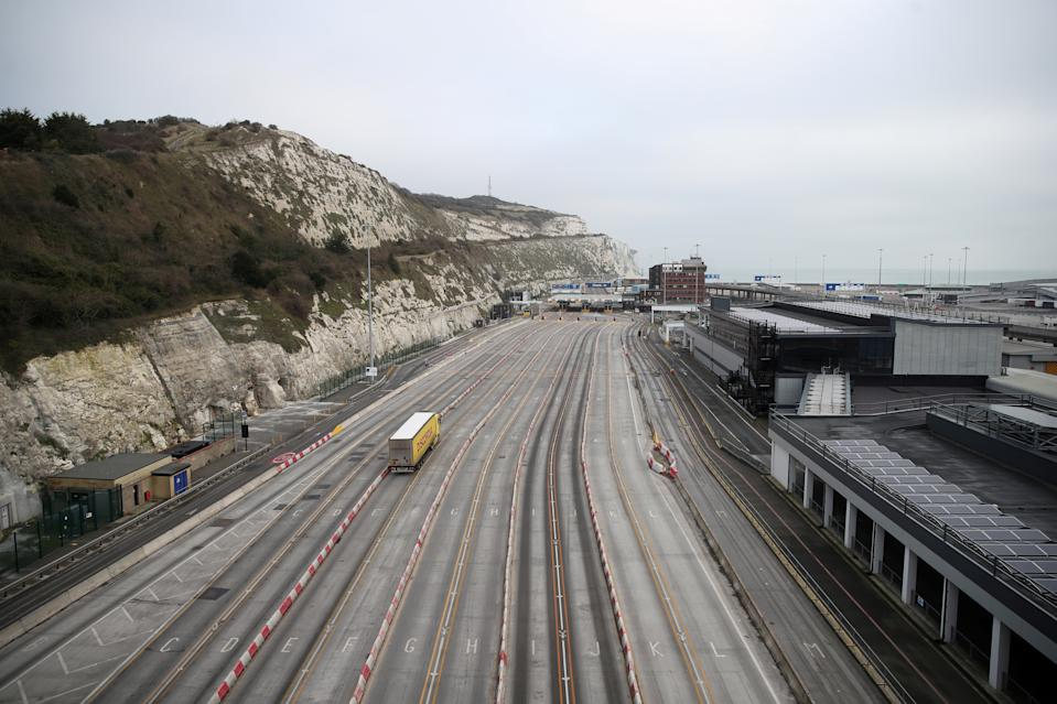 A lorry arrives at the Port of Dover following the end of the Brexit transition period. Photo: Peter Cziborra/Reuters