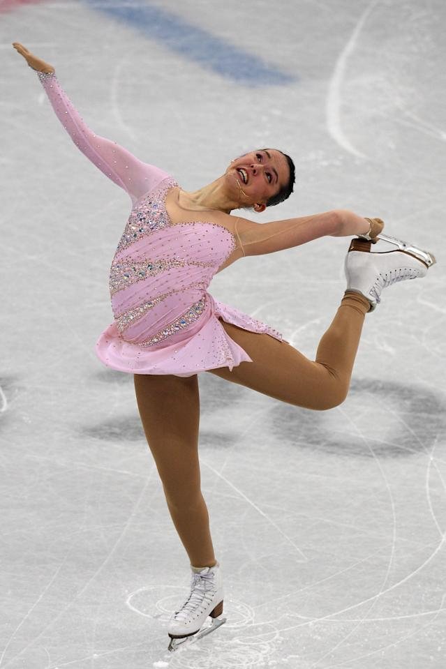 <p>Israel's Aimee Buchanan competes in the figure skating team event women's single skating short program during the Pyeongchang 2018 Winter Olympic Games at the Gangneung Ice Arena in Gangneung on February 11, 2018. / AFP PHOTO / Roberto SCHMIDT </p>