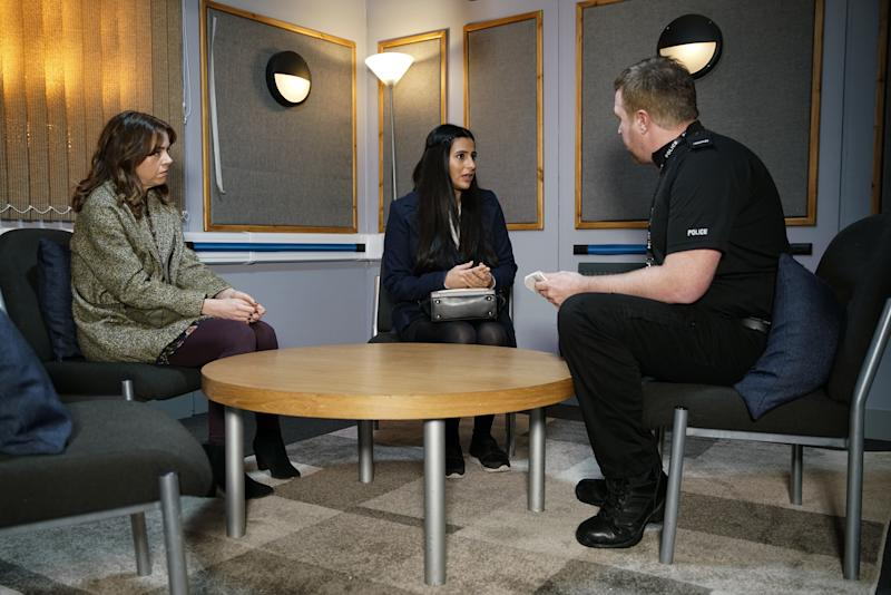 With Toyah Battersby [GEORGIA TAYLOR] by her side, Alya Nazir [SAIR KHAN] reports Geoff to the police, convinced he must have a history of abuse. (ITV Plc)