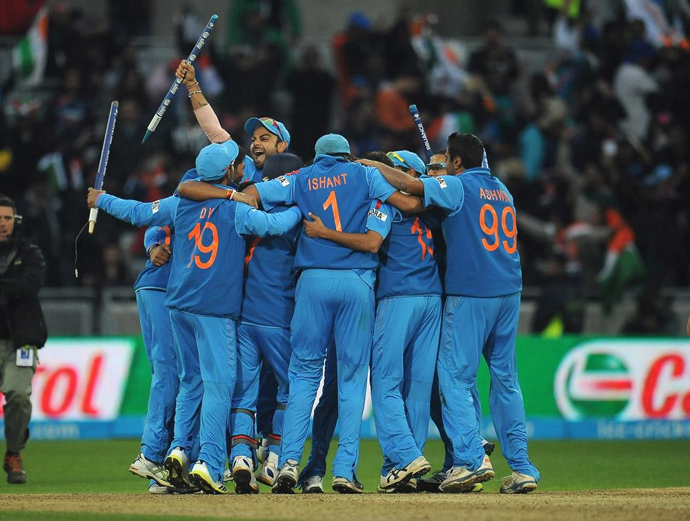 BIRMINGHAM, ENGLAND - JUNE 23:  India celebrate their victory after the final ball during the ICC Champions Trophy Final match between England and India at Edgbaston on June 23, 2013 in Birmingham, England.  (Photo by Christopher Lee-ICC/ICC via Getty Images)