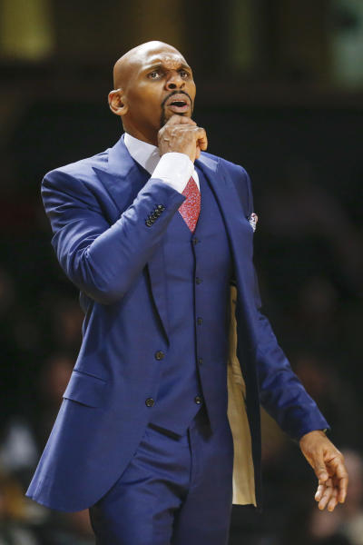 Vanderbilt head coach Jerry Stackhouse watches the action in the first half of an NCAA college basketball game against Alabama Wednesday, Jan. 22, 2020, in Nashville, Tenn. Alabama won 77-62. (AP Photo/Mark Humphrey)