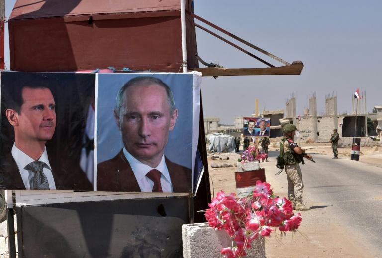 In Syria, photos of Russian President Vladimir Putin hang alongside those of Syrian leader Bashar al-Assad, since Moscow intervened on the side of the Damascus regime in 2015