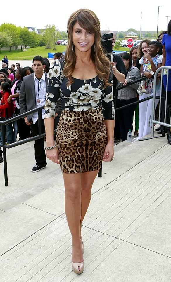 """Fellow fashion-challenged """"pop star"""" Paula Abdul should know better than to pair a floral print with a leopard print, even if both items are from Dolce & Gabbana's latest line. Kamil Krzaczynski/<a href=""""http://www.infdaily.com"""" target=""""new"""">INFDaily.com</a> - May 19, 2011"""