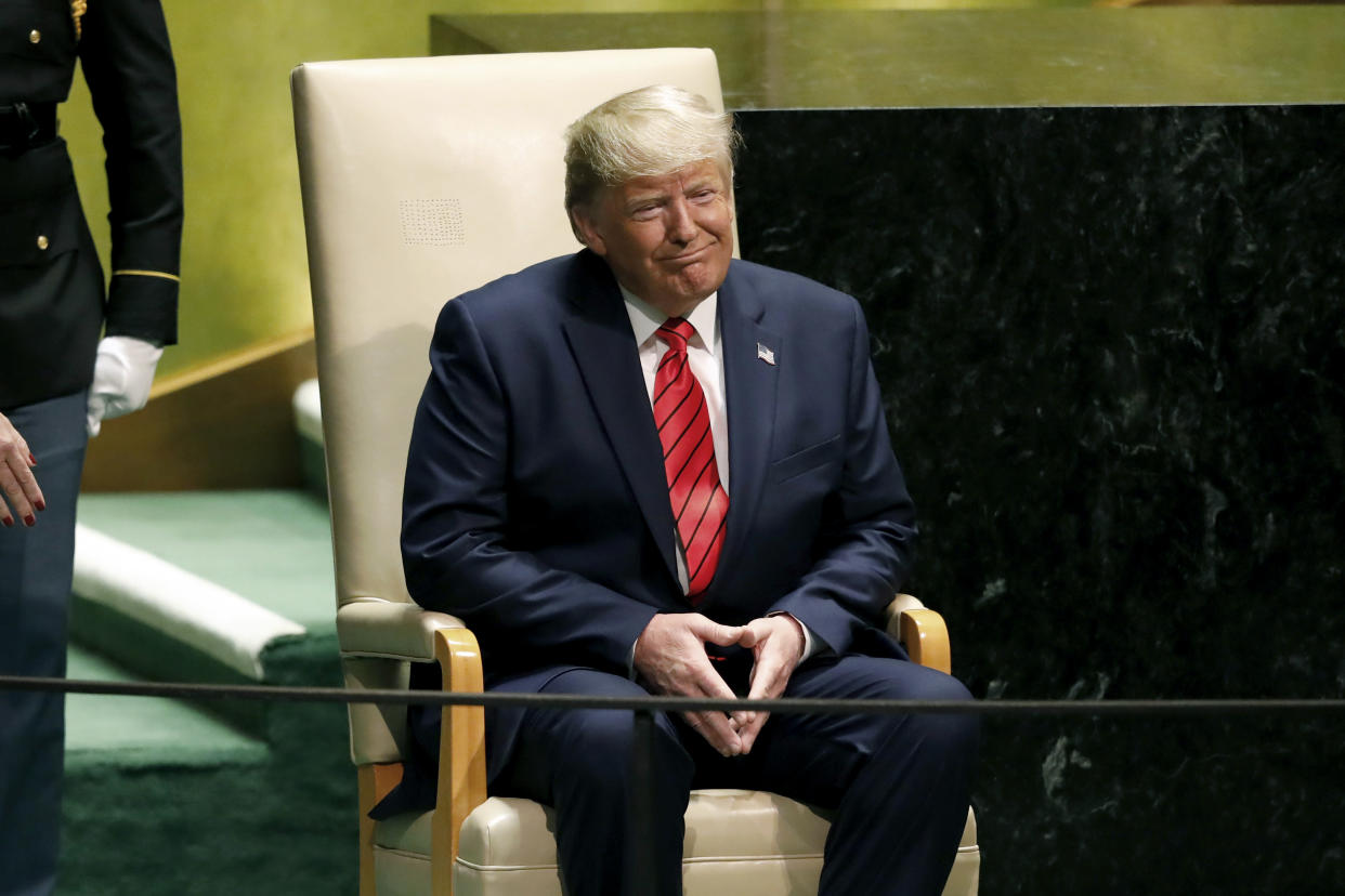 President Trump at the 74th session of the United Nations General Assembly, Sept. 24, 2019. (Photo: Richard Drew/AP)