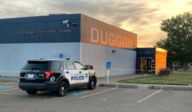 Southwest division officers responded to a report of a shooting at a community hall near 37th Avenue and 106th Street around 4 a.m. Sunday, police said in a news release.  (Scott Neufeld/CBC - image credit)