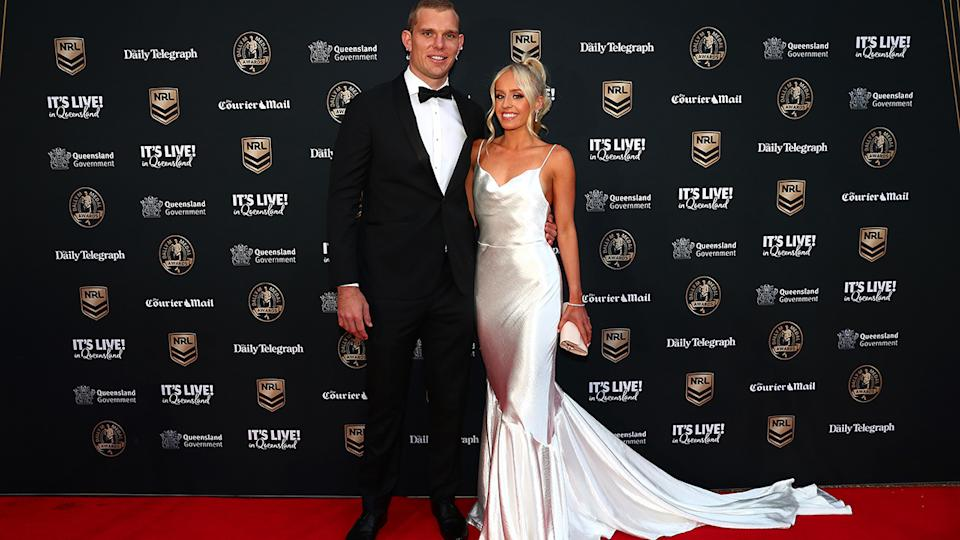 Tom Trbojevic and Kristi Wilkinson, pictured here at the NRL 2021 Dally M Awards.