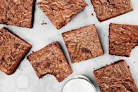 """Chocolate-hazelnut spread gives these decadent brownies a rich, nutty flavor. <a href=""""https://www.epicurious.com/recipes/food/views/3-ingredient-nutella-brownies?mbid=synd_yahoo_rss"""" rel=""""nofollow noopener"""" target=""""_blank"""" data-ylk=""""slk:See recipe."""" class=""""link rapid-noclick-resp"""">See recipe.</a>"""