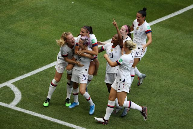 Megan Rapinoe celebrates after scoring her team's first goal. (Credit: Getty Images)
