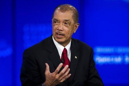 James Michel, president of the Republic of Seychelles, speaks at a session on sustainable oceans during the Clinton Global Initiative's annual meeting in New York