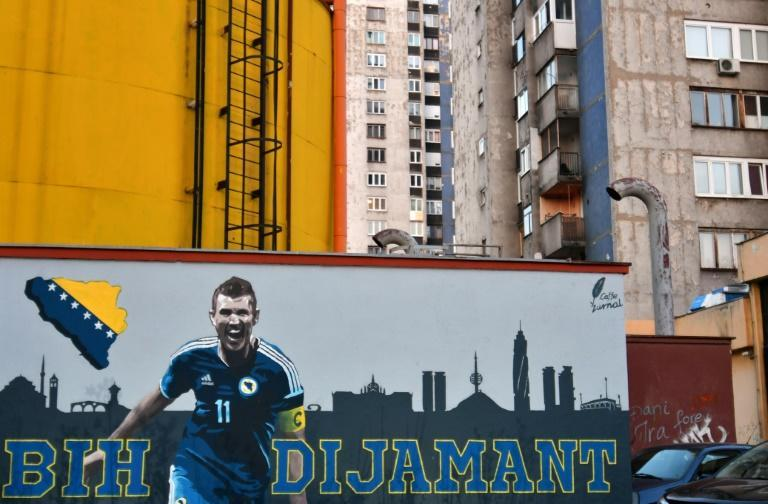 Larger than life: A mural dedicated to Edin Dzeko in Sarajevo in 2018