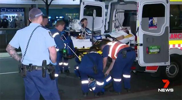 The man was taken in an ambulance with serious injuries. Source: 7 News