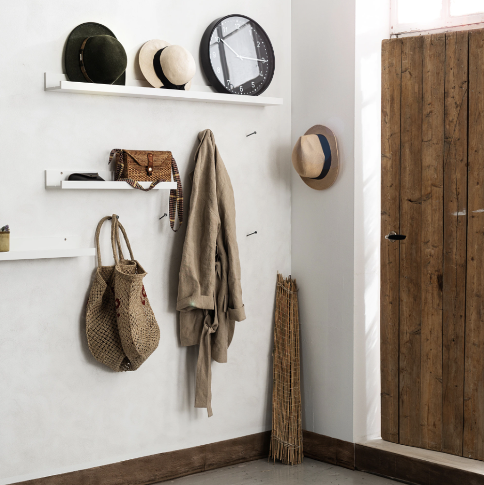 """<p>This skinny shelf offers enough space for nine hooks if you attach them to the front of the ledge, so you'll never find anyone's jacket on the floor. Plus, the shelf provides a nook for keys, mail, or even art. </p><p><a class=""""link rapid-noclick-resp"""" href=""""https://go.redirectingat.com?id=74968X1596630&url=https%3A%2F%2Fwww.ikea.com%2Fus%2Fen%2Fcatalog%2Fproducts%2F40291766%2F&sref=https%3A%2F%2Fwww.countryliving.com%2Fhome-maintenance%2Fg37186772%2Fentryway-ikea-hacks%2F"""" rel=""""nofollow noopener"""" target=""""_blank"""" data-ylk=""""slk:BUY NOW"""">BUY NOW</a><strong><em> Picture Ledge, $10</em></strong></p>"""