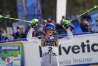 Slovakia's Petra Vlhova celebrates after winning the silver medal in the women's slalom, at the alpine ski World Championships in Cortina d'Ampezzo, Italy, Saturday, Feb. 20, 2021. (AP Photo/Giovanni Auletta)