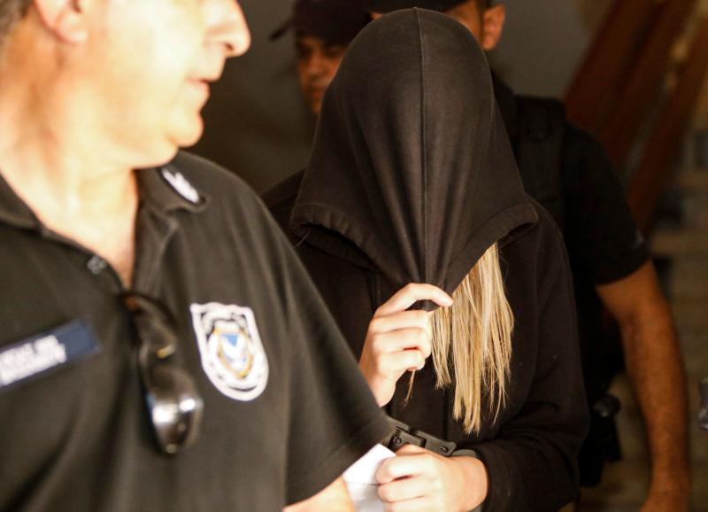 The British teenager who accused Israelis of gang rape leaving the Famagusta District Court in Paralimni in eastern Cyprus last week. (Getty)