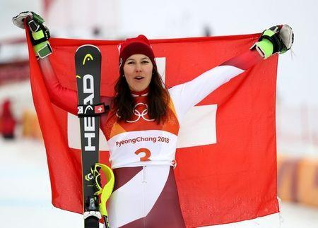 FILE PHOTO: Feb 22, 2018; Pyeongchang, South Korea; Wendy Holdener (SUI) celebrates winning the bronze medal in the ladies' alpine skiing combined event during the Pyeongchang 2018 Olympic Winter Games at Jeongseon Alpine Centre. Jeff Swinger-USA TODAY Sports