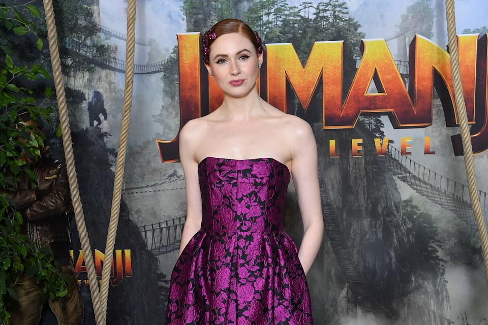 """Karen Gillan attends the photocall of """"Jumanji: The Next Level"""" on December 03, 2019. (Photo by Stephane Cardinale - Corbis/Corbis via Getty Images)"""