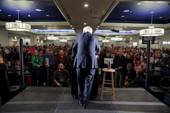 Democratic U.S. presidential candidate Senator Bernie Sanders hosts a climate rally in Iowa City